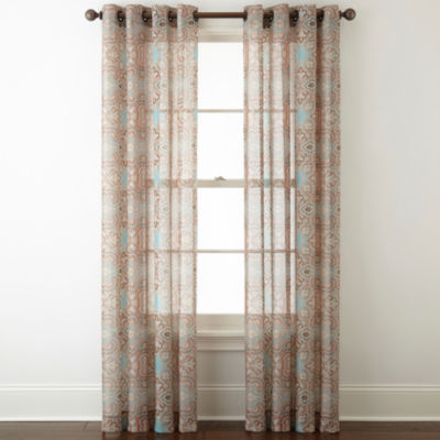 jcpenney home batiste paisley grommettop sheer curtain panel - Sheer Curtain Panels
