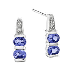 Genuine Tanzanite and Diamond-Accent 14K White Gold Earrings