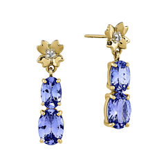 Genuine Tanzanite and Diamond-Accent 14K Yellow Gold Dangle Earrings