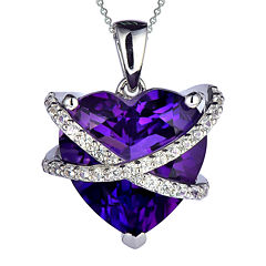 Lab-Created Amethyst & White Sapphire Crossover Heart Pendant Necklace in Sterling Silver