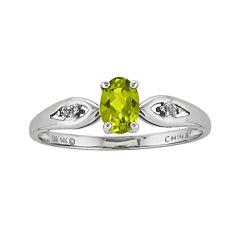 Genuine Peridot Diamond-Accent 14K White Gold Ring