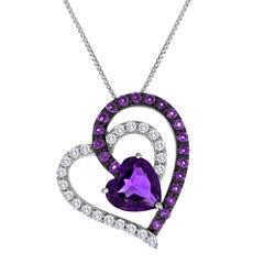 Lab-Created Amethyst & White Sapphire Interlocking Heart Pendant Necklace