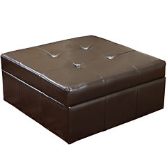 Marley Square Bonded Leather Storage Ottoman