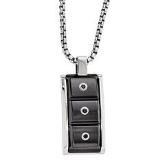 Edward Mirell Black Ti™ Mens Black Spinel Stainless Steel Titanium Pendant Necklace