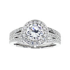 DiamonArt® Cubic Zirconia Sterling Silver Halo Ring