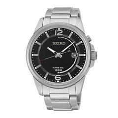Seiko® Mens Stainless Steel Kinetic Watch SKA671
