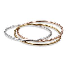 18K Tri-Color Gold Over Sterling Silver 3-pc. Bangle Bracelet Set