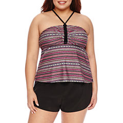 Costa Del Sol Geo Linear Tankini Swimsuit Top-Juniors Plus