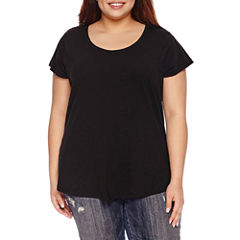 Boutique + Short Sleeve Scoop Neck T-Shirt-Womens Plus