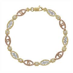Tesoro™ 14K Tri-Color Gold Cubic Zirconia Quinceanera Link Bracelet