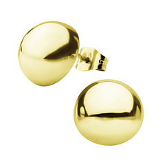 Stainless Steel and Yellow IP 12mm Hollow Button Stud Earrings