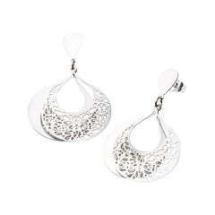 Stainless Steel Filigree Teardrop Earrings