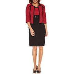Studio 1 3/4 Sleeve Colorblock Jacket Dress-Petites