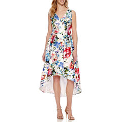 S. L. Fashions Sleeveless Floral A-Line Dress