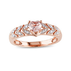 Genuine Morganite and Diamond-Accent 10K Rose Gold Heart Ring