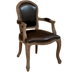 Walter Bonded Leather Armchair with Nailhead Trim