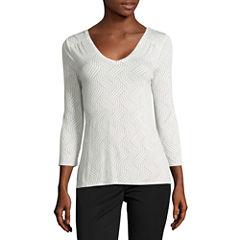 Worthington 3/4 Sleeve V Neck T-Shirt-Womens Petites