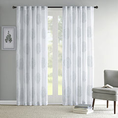 Madison Park Isla Sheer Branch Flocking Rod-Pocket Curtain Panel