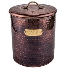 Old Dutch Hammered Antique Copper Cookie Jar withFresh Seal Lids 4 Qt