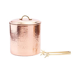 Old Dutch Hammered Décor Copper Ice Bucket with Tongs 3 Qt