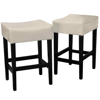 kirby set of 2 backless bonded leather barstools - White Leather Bar Stools