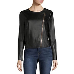 Worthington Zip Front Faux Leather Jacket (Multi Colors)