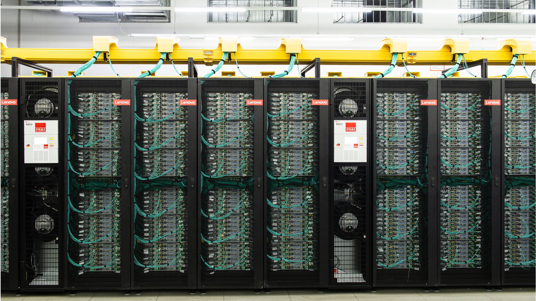A cluster of liquid-cooled Lenovo ThinkSystem servers powering climate change technology