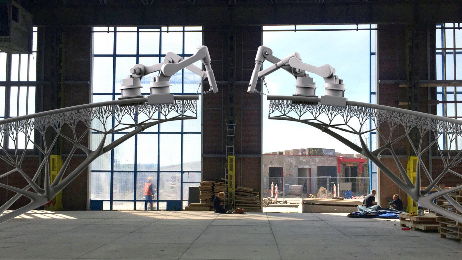 3D printed steel bridge by MX3D.
