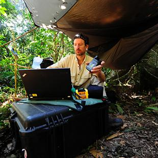Dr. Zoltan with his Lenovo Thinkpad working from a remote location, in search of the next designer toxin.