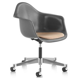 Fine Eames Molded Fiberglass Task Armchair With Upholstered Seat Pabps2019 Chair Design Images Pabps2019Com
