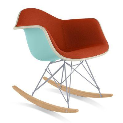 Herman Miller Eames Molded Plastic Armchair With Rocker Baseand Upholstered  | YLiving.com