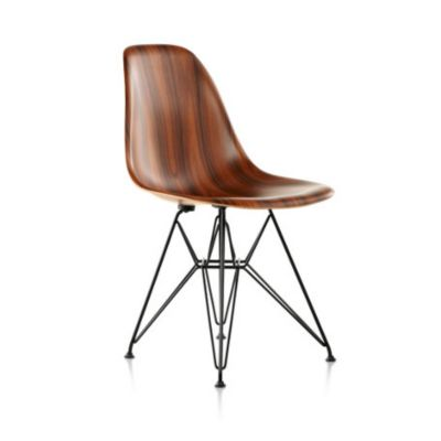 Herman Miller Eames Molded Wood Side Chair With Wire Base | YLiving.com