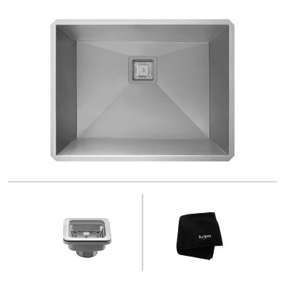 Kraus Pax Zero Radius 24 Inch 18 Gauge Handmade Undermount Single Bowl  Stainless Steel Laundry And Utility Sink | YLiving.com