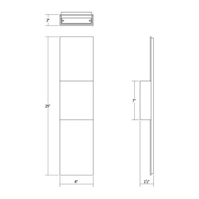 flat box 2-light indoor/outdoor led panel sconce diagram