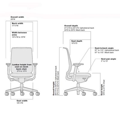 Merveilleux Reply Mesh Back Office Chair / Dimensions