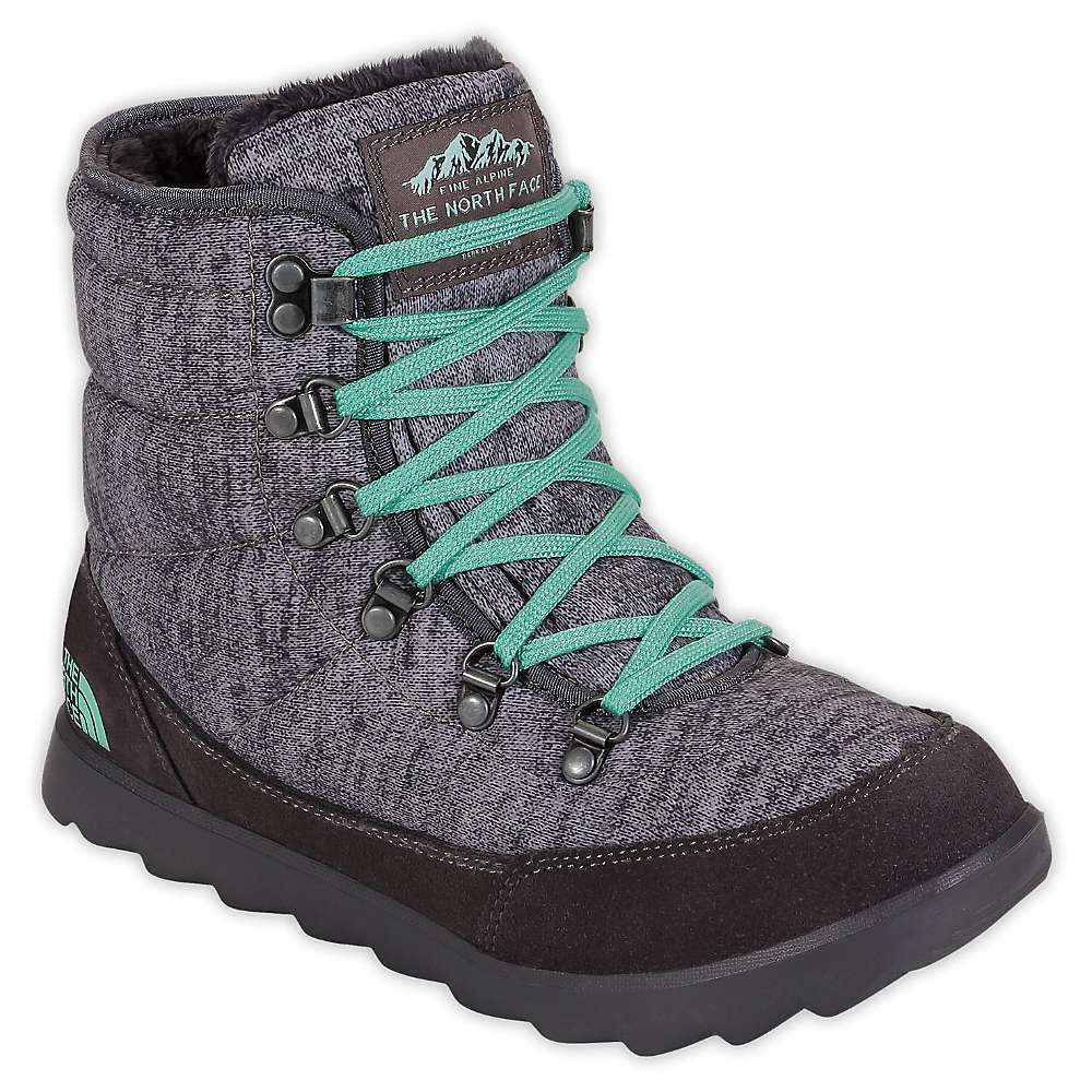The North Face Women's ThermoBall Lace Boot. Heather Grey / Surf Green. 0:00