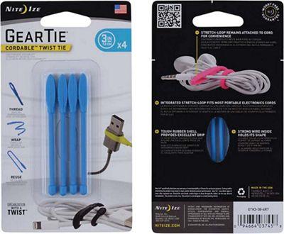 Nite Ize Gear Tie Cordable Twist Tie 4 Pack