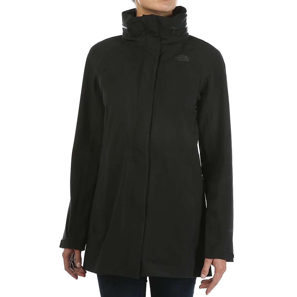 Black and pink north face rain jacket