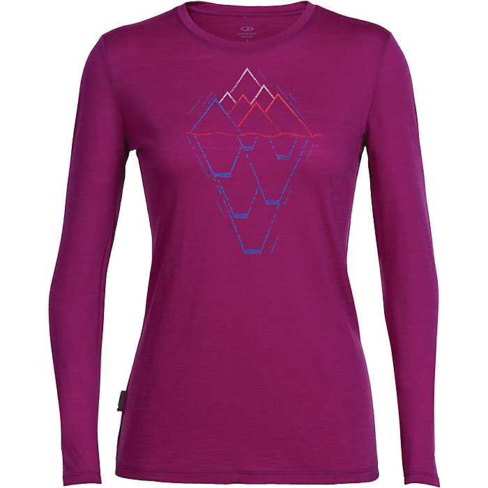 Icebreaker Merino Womens Tech Lite Long Sleeve T-Shirt W//Graphic New Zealand Merino Wool