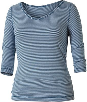 Royal Robbins Women's Kickback To Front Stripe 3/4 Sleeve Top