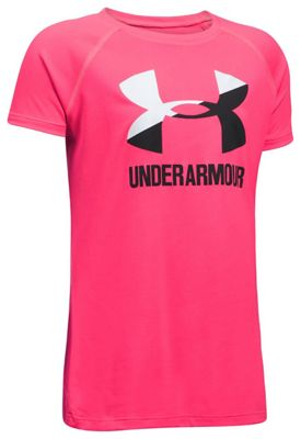 Under Armour Girls' UA Solid Big Logo SS Tee