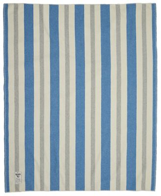 Woolrich Indigo Grey Vertical Stripe Blanket