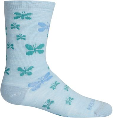Icebreaker Kids' Lifestyle Ultra Light Cushion Butterflies Crew Sock