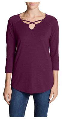 Eddie Bauer Travex Women's  Gate Check 3/4 Sleeve Cross Front Tunic