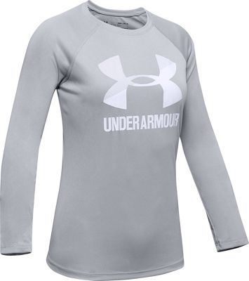 Under Armour Girls' Big Logo LS Top