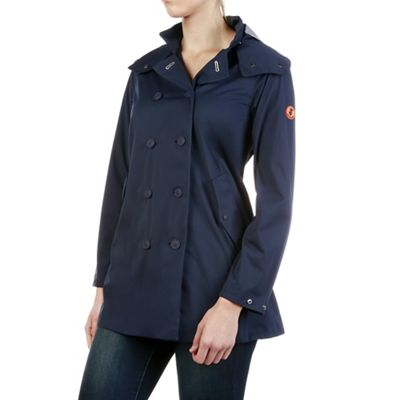 Save The Duck Womens Full Length Hooded & Double Breasted Rain Coat