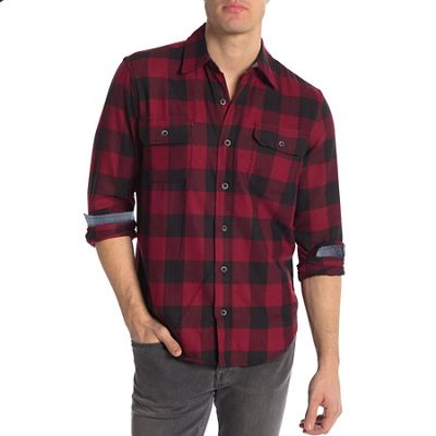 Tailor Vintage Men's Fast-Dry Buffalo Performance Stretch Flannel Two Pocket Shirt