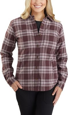 Carhartt Women's Rugged Flex Relaxed Fit Flannel Fleece-Lined Plaid Shirt