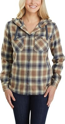 Carhartt Women's Relaxed Fit Flannel Hooded Plaid Shirt