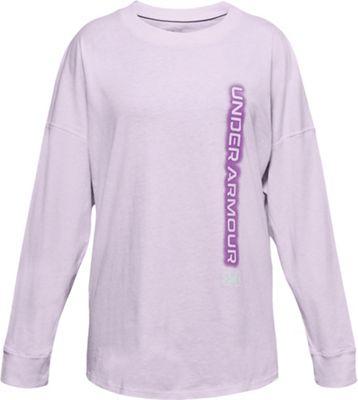 Under Armour Girls' UA Wordmark Branded LS Top